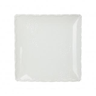 Quadratischer Teller in weiß mit Weihnachtsdruck, 18 x 18 cm - Fééric Lights and Christmas