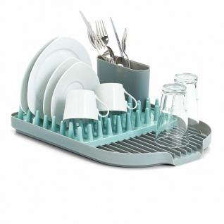 Zeller Geschirrhalter in grau mit Besteckbehälter und Zubehör-Organizer