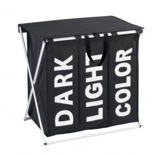 Großer Wäschekorb TRIO TOP BLACK 118 l, Behälter für schmutzige Kleidung 3 Fächer, WENKO