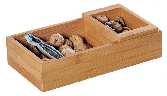 Nussschale, Nussknacker, Nussmaschine, Bambusbehälter, eckig, FSC