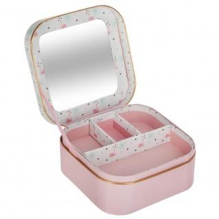 Schatulle mit einem Spiegel, eine Box für kleine Gegenstände, Schmuck, rosa-weiß