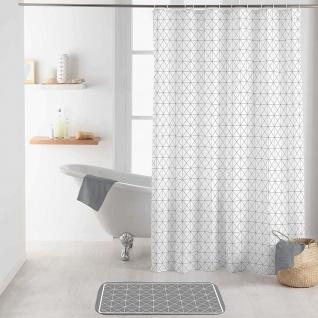 Duschvorhang KUBIA, 180 x 200 cm, weiß mit geometrischem Muster