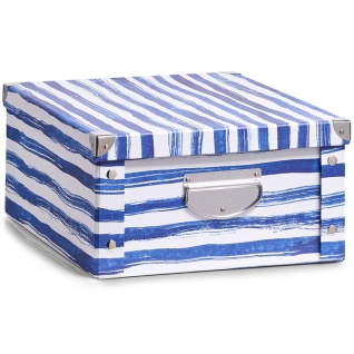 ZELLER, Aufbewahrungsbox BLUE STRIPES, 40x33x17 cm