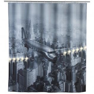 Duschvorhang OLD PLANE Textil mit LED-Beleuchtung, 180x200 cm, WENKO
