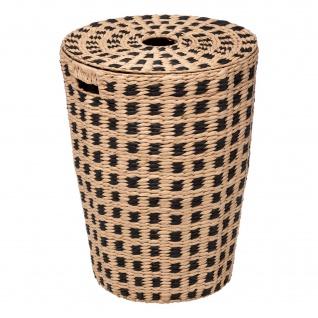 Wäschekorb aus Bambus, 60 L, mit schwarzem Muster