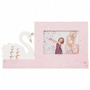 Dekorativer Bilderrahmen mit Schwan - Motiv für Kinderzimmer, rosa, 28, 5 x 15, 2cm