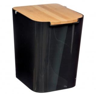 Müllbadkorb schwarz mit Bambusdeckel, 5l