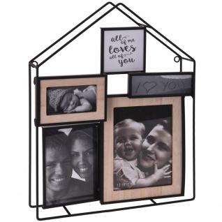 Stilvoller Bilderrahmen in der Form des Hauses bietet Platz für 4 Fotos von Menschen in unserer Nähe