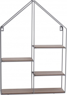 Deko Wandregal in Form eines Hauses, 50 cm, Metall - Home Styling Collection