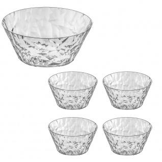 Schüssel für Salate CRYSTAL + 4 Schalen - transparente , KOZIOL