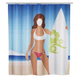 WENKO Duschvorhang Surfing Girl waschbar, Textil, 180 x 200 cm