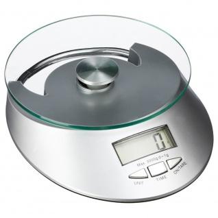 Küchenwaage, Elektronikglas, LCD, max. 5 kg, grau