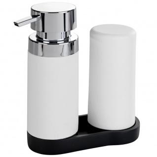 Spender mit Seifenpumpe und Silikonflüssigkeitsbehälter 2er Set für Küche oder Bad 250 ml WENKO