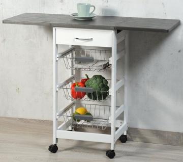 Küchenbar auf Rädern, Tisch mit Klappplatte in weiß und grau - Kesper