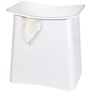Wäschekorb mit Sitz, Farbe weiß, WENKO