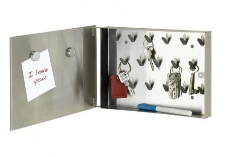 Schlüssel-Organizer mit 17 Haken und Spiegeltür, magnetische Oberfläche, 30 x 5 x 20 cm, WENKO