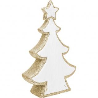Weihnachtsbaum mit Glitzer, weiß und gold, 30 cm - Home Styling Collection