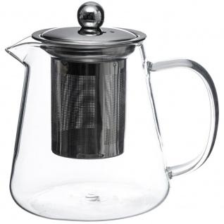 Teekanne mit Filtereinsatz, Glas, transparent, großer Teebereiter