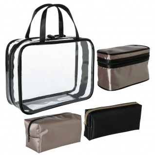 Kosmetikset in neutralen Farben, 3 Reisetasche aus Nylon mit Reißverschluss - 5five Simple Smart