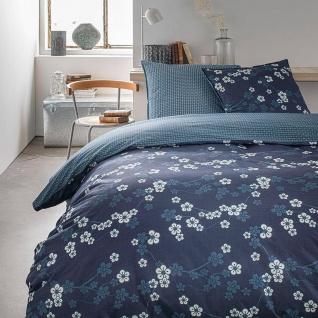 Bettwäsche-Set beidseitig, 220 x 240 cm, Baumwolle, dunkelblau mit Blumen