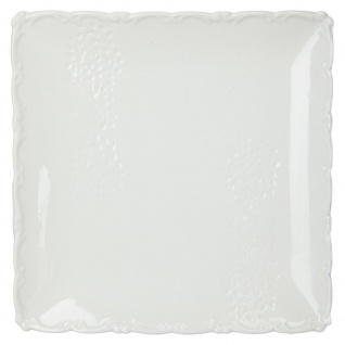 Quadratischer Teller in weiß, mit Weihnachtsdruck, 26 x 26 cm - Fééric Lights and Christmas