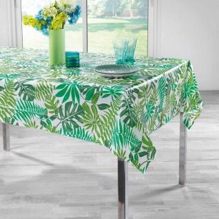 Tischdecke, rechteckig, PEVA FIORA, 150 x 240 cm, weiß mit Blätter-Motiv