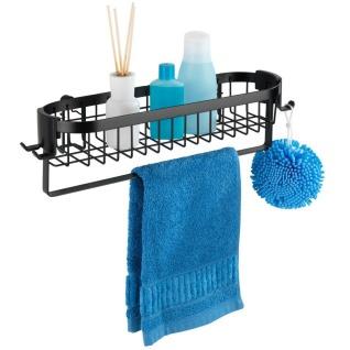 Hängeregal mit Haken und Handtuchhalter Classic Plus, Farbe schwarz