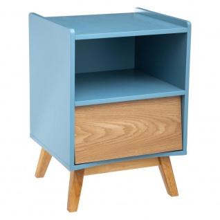 Nachttisch aus Holz, blau, 1 Schublade, Höhe 62 cm, Cosy'ness - Atmosphera