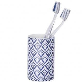 Keramikbecher für Zahnbürsten, LORCA Badezimmer-Behälter mit griechischem Motiv - WENKO