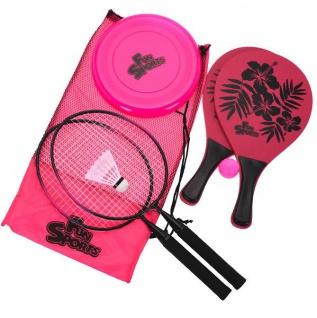 Badminton-Set für Strand + Frisbee, 3 in 1, rosa