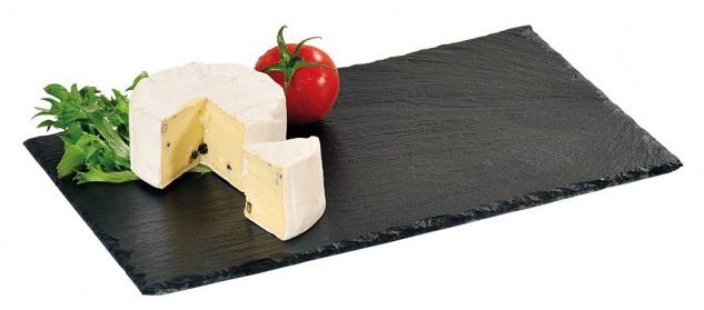 Servierbrett, schwarzer Teller mit Aufhobeln zum Servieren von Speisen und Snacks - Kesper