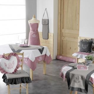 Ofenhandschuh + Topflappen 19 x 28 cm/18 x 18 cm gesticktem Glück, Polyester, Rosa/Weiß, 28 x 20 cm - Douceur d'intérieur - Vorschau 2