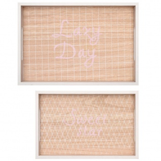 Set von 2 LAZY DAY Holztabletts, rosa - Home Styling Collection