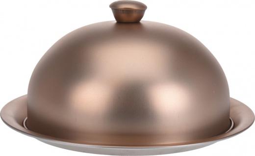 Servierplatte mit Glocke, Speiseglocke mit Servierteller, matt 20x10 cm - dunkel