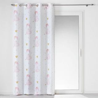Ösenvorhang, 140 x 260 cm, Polyester, Bedruckt, Rosalin, Weiß - Douceur d'intérieur