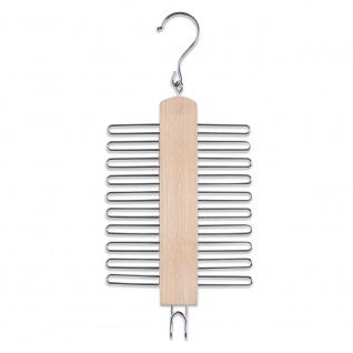 Zeller Krawattenhalter, 20 Stück, Aufhänger, Buche/Metall, ca. 17 x 39 cm