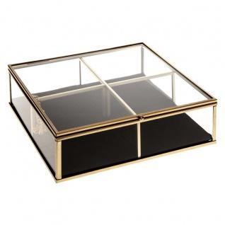 Schmuckkästchen, quadratisch, aus Glas und Velours, 20 x 20 cm, goldfarben - Atmosphera