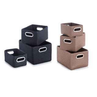 Zeller Korb-Set, 3-tlg., PP, m. Metallgriffen, schwarz