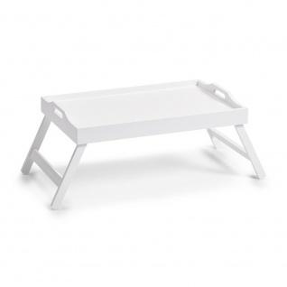Betttablett, Serviertablett, Universaltisch mit klappbaren Beinen, MDF, Weiß