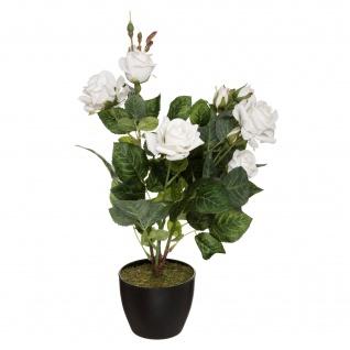 Kunstblumen im Blumentopf ROSE, weiß