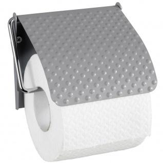 PUNTO Stahlhalter für Toilettenpapier, Aufhänger mit Klappe für Rolle - WENKO