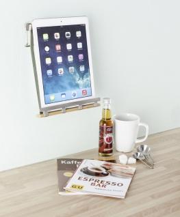 Wenko Tablethalter Premium-Ständer Halter für Tablets, E-Reader, Smartphones und Kochbücher, Metall vernickelt, 19 x 23 x 7, 5 cm, silber matt - Vorschau 2