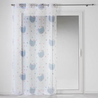 Ösenvorhang 140 x 240 cm, Bedruckt, Katze, Weiß - Douceur d'intérieur - Vorschau 1