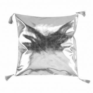 Dekokissen COMPR. Pompons 40 x 40 cm PU+Suede Luxury Silber - Douceur d'intérieur