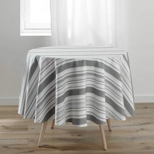 Runde Tischdecke SANTORIN, Ø 180 cm, weiß-grau
