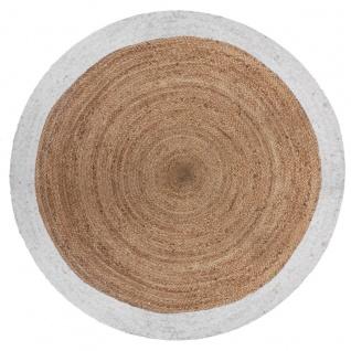 Jute-Teppich, rund, Ø 120 cm, mit weißem Rand