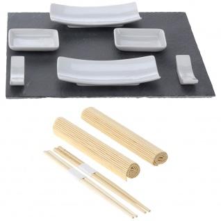 EH Excellent Houseware, Sushiset mit Schieferplatte, Sushi -11 Elemente