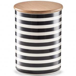 ZELLER, Keramikbehälter mit Bambusdeckel, 900 ml, STRIPES