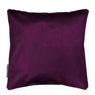 hana Kissenhülle + Besatz 60 x 60 cm Shantung Uni Shana Polyester 60 x 60 cm, Polyester, dunkelviolett - Douceur d'intérieur