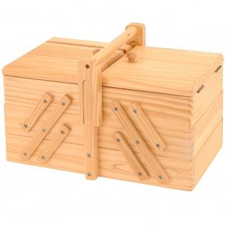 Neu NÄhbox Klappbar - 5 Fächer Nähkästchen Holz Nähkiste Nähkasten - Vorschau 1